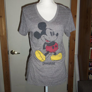 Disney Parks Mickey Mouse V-Neck Fitted T-Shirt M